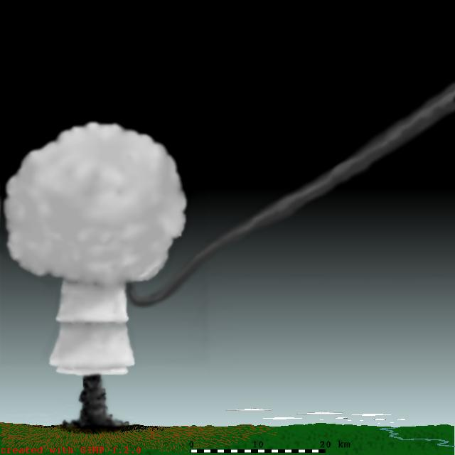 Computer simulation of the mushroom cloud, source: Diane Neisius